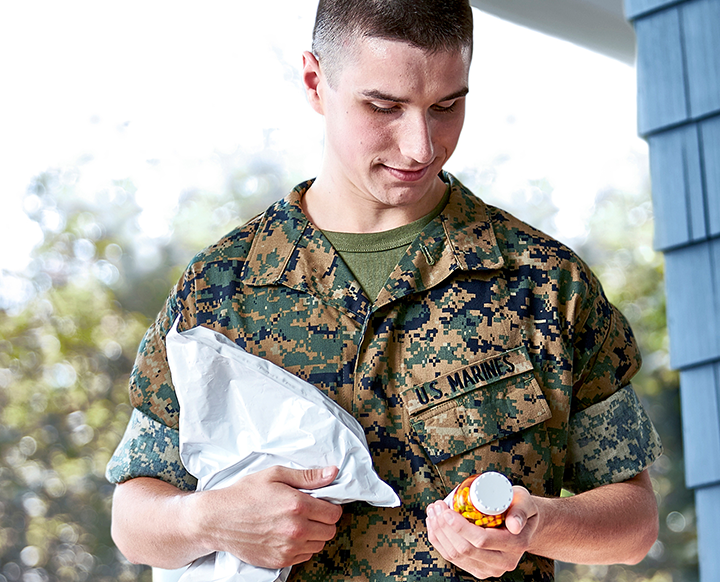 Marine holding medicine and package.