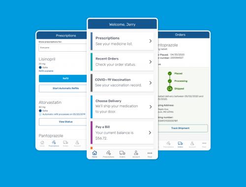 Express Scripts mobile app UI screens